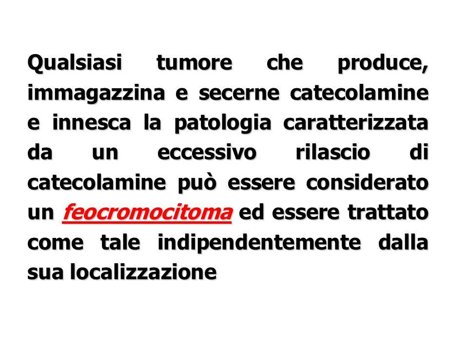 Qualsiasi tumore che produce, immagazzina e secerne catecolamine e innesca la patologia caratterizzata da un eccessivo rilascio di catecolamine può essere considerato un feocromocitoma ed essere trattato come tale indipendentemente dalla sua localizzazione