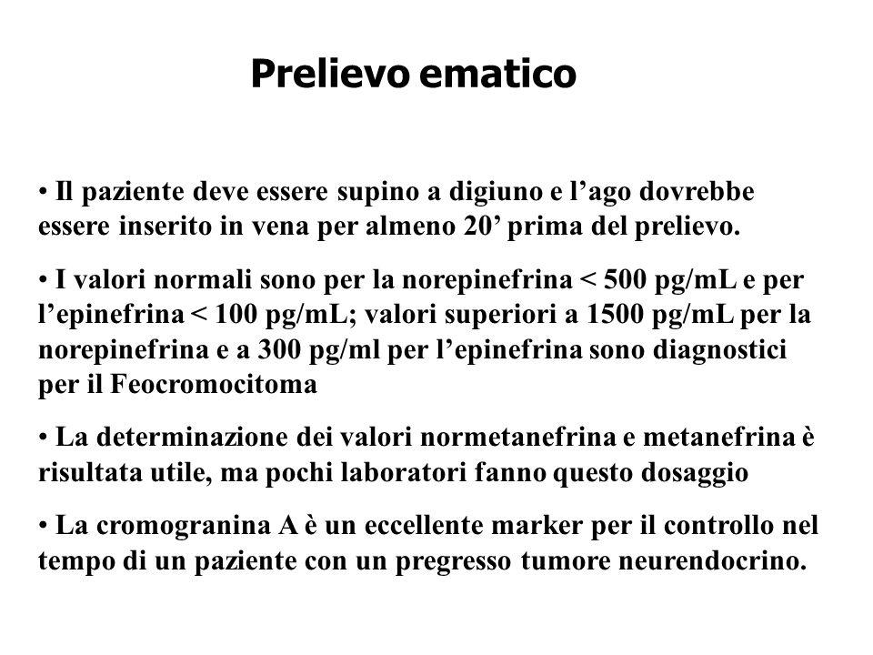 Prelievo ematico Il paziente deve essere supino a digiuno e l'ago dovrebbe essere inserito in vena per almeno 20' prima del prelievo.
