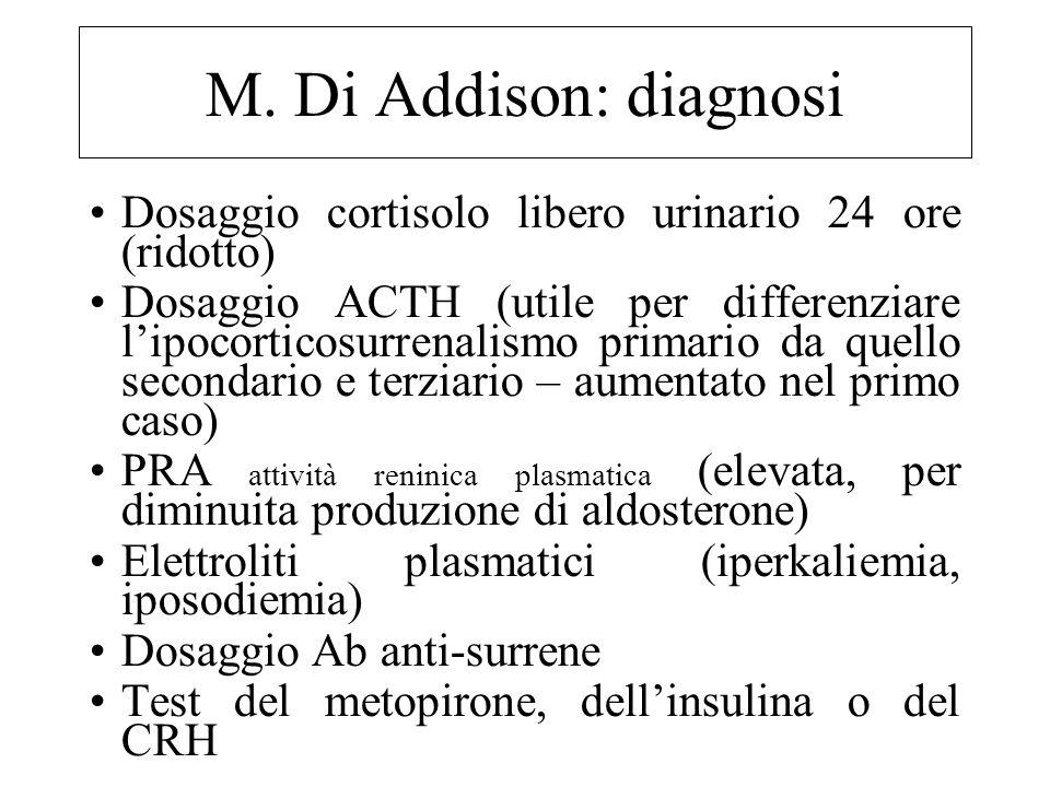 M. Di Addison: diagnosi Dosaggio cortisolo libero urinario 24 ore (ridotto)