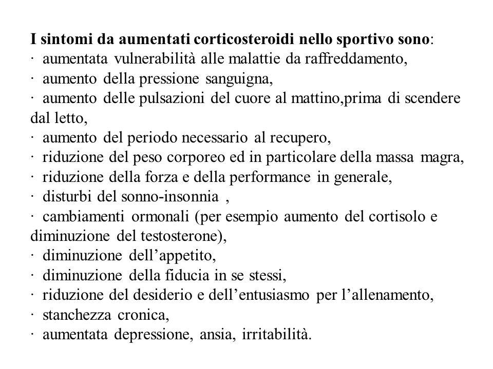 I sintomi da aumentati corticosteroidi nello sportivo sono: