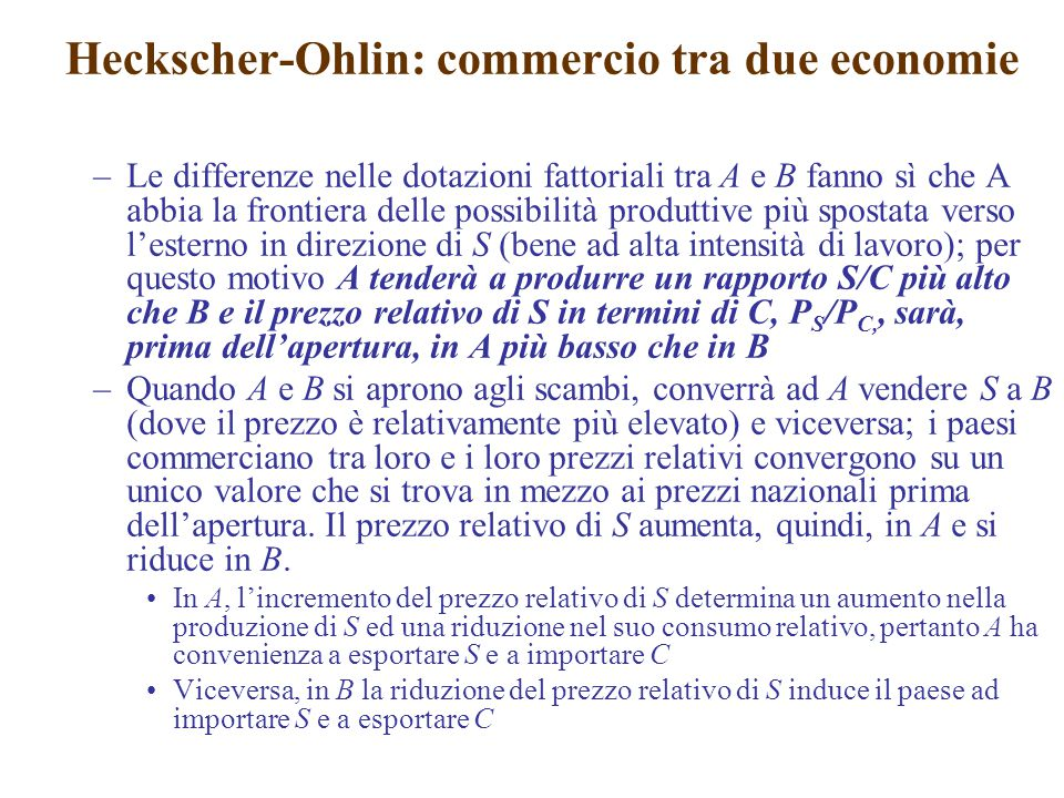 Heckscher-Ohlin: commercio tra due economie