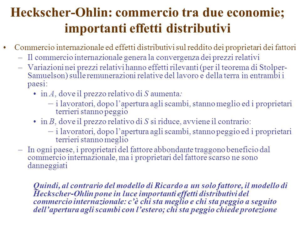 Heckscher-Ohlin: commercio tra due economie; importanti effetti distributivi