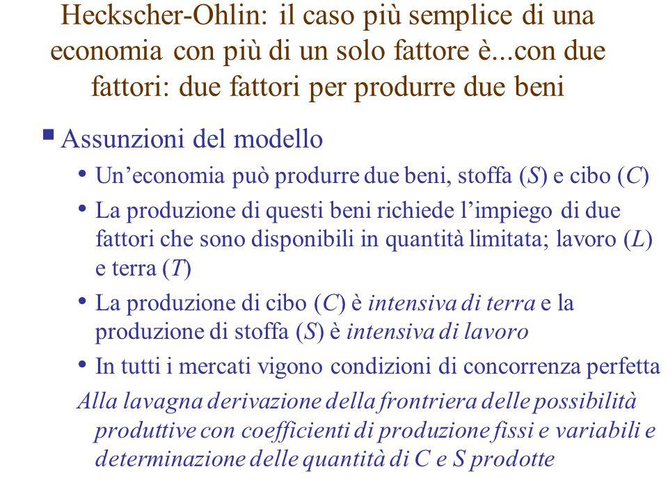 Heckscher-Ohlin: il caso più semplice di una economia con più di un solo fattore è...con due fattori: due fattori per produrre due beni