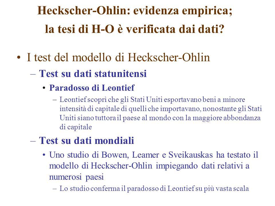 I test del modello di Heckscher-Ohlin