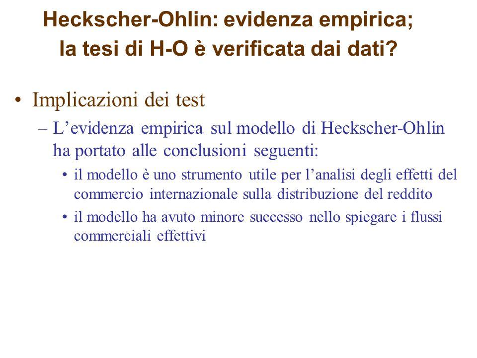 Heckscher-Ohlin: evidenza empirica; la tesi di H-O è verificata dai dati