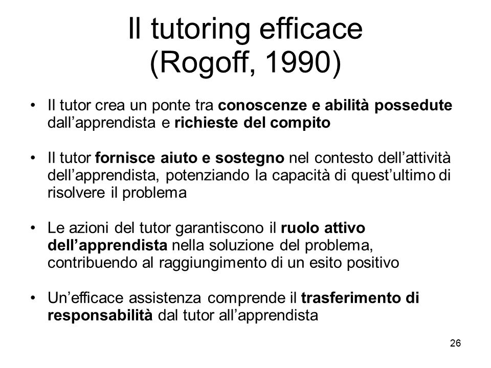 Il tutoring efficace (Rogoff, 1990)‏