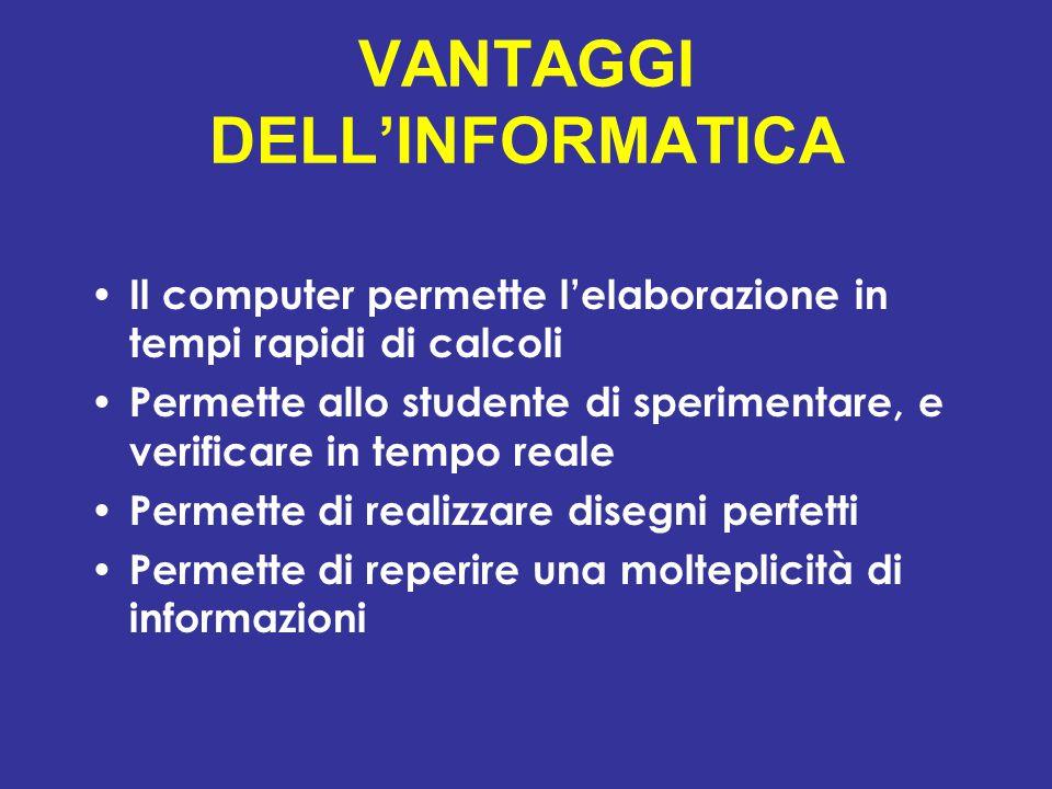 VANTAGGI DELL'INFORMATICA