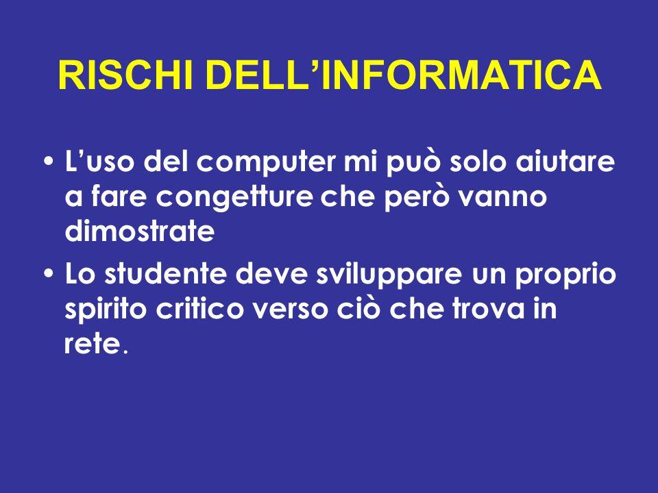 RISCHI DELL'INFORMATICA