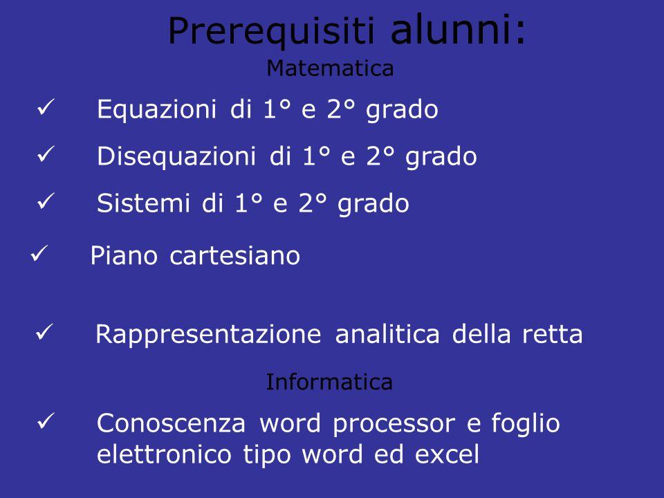 Prerequisiti alunni: Equazioni di 1° e 2° grado