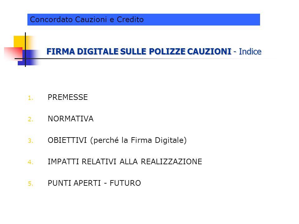 FIRMA DIGITALE SULLE POLIZZE CAUZIONI - Indice