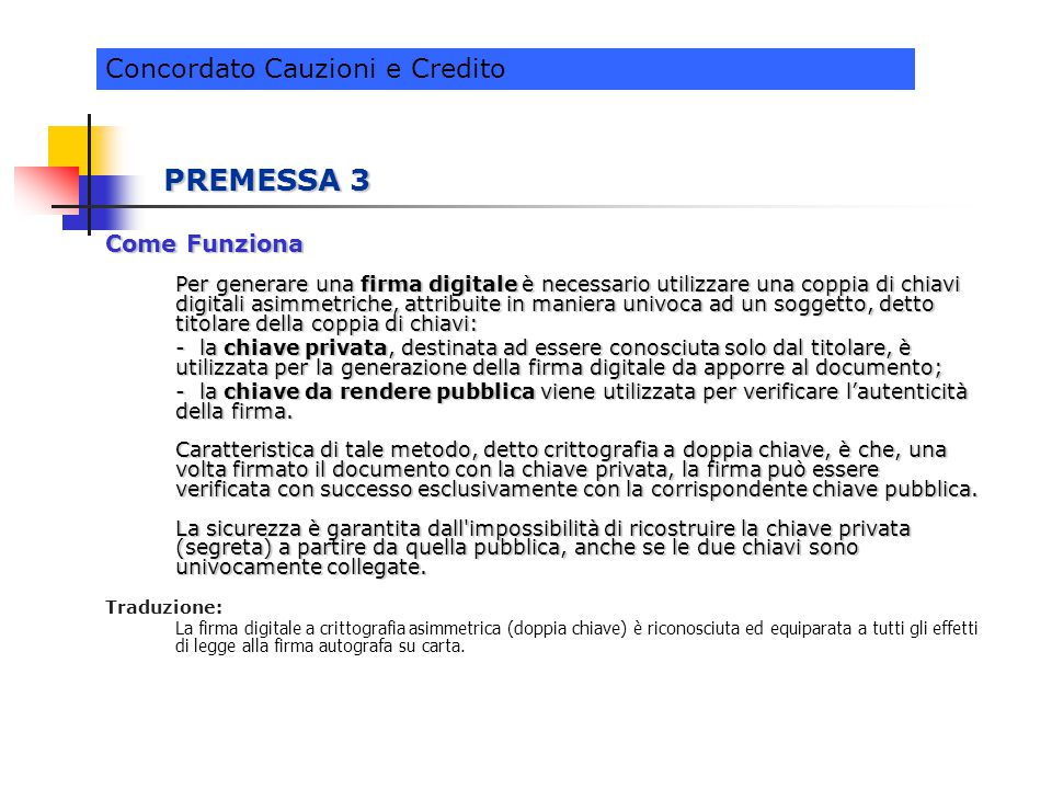 PREMESSA 3 Concordato Cauzioni e Credito Come Funziona