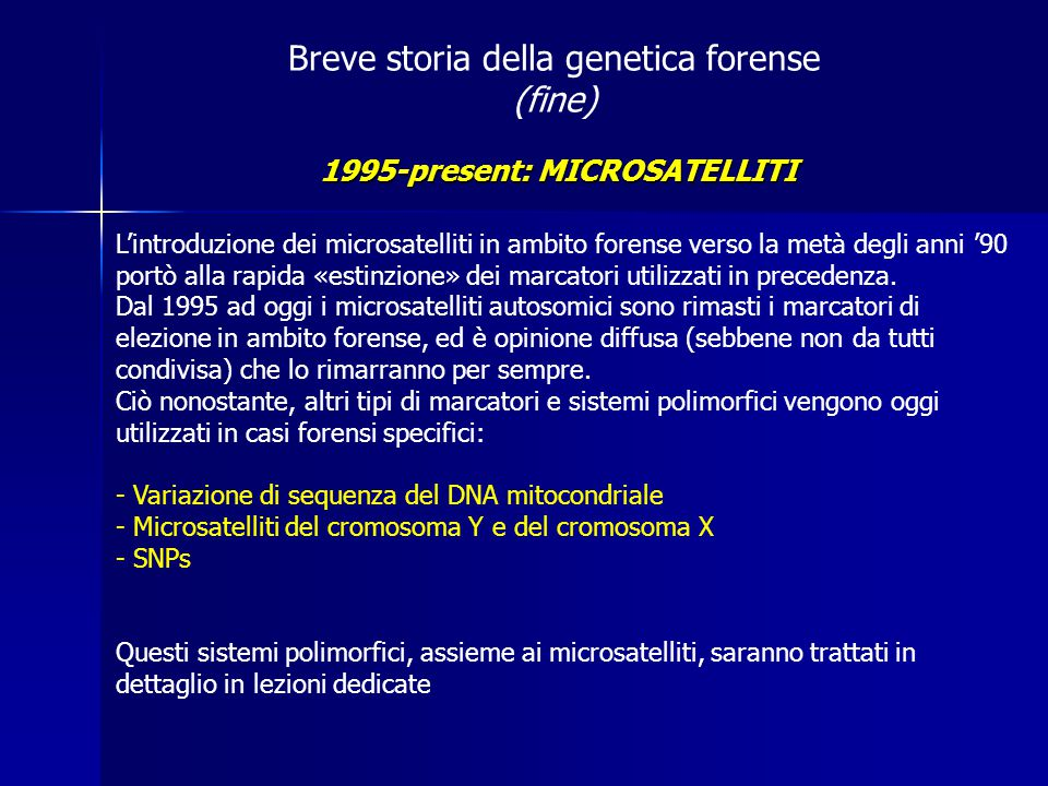 1995-present: MICROSATELLITI