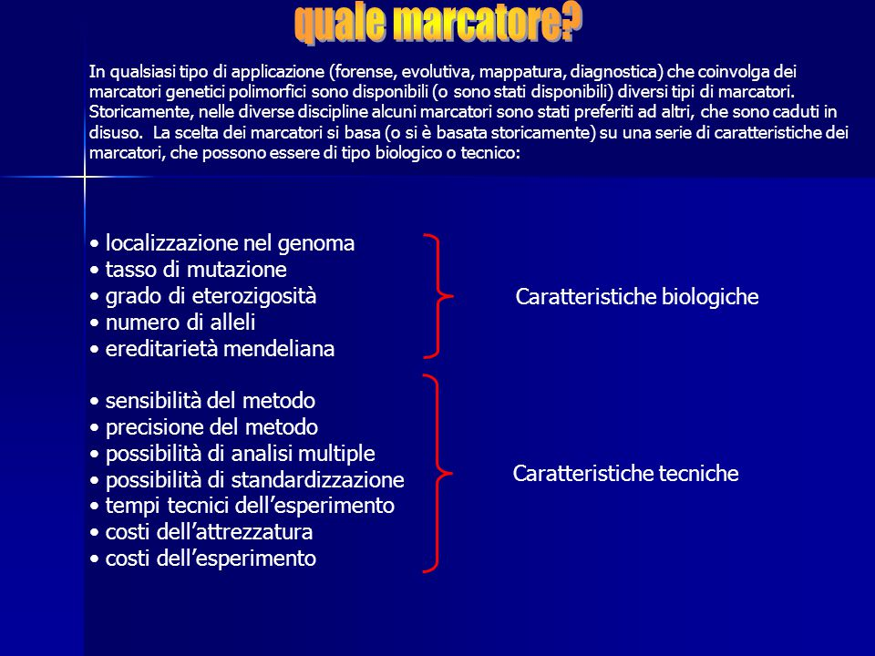 quale marcatore localizzazione nel genoma tasso di mutazione