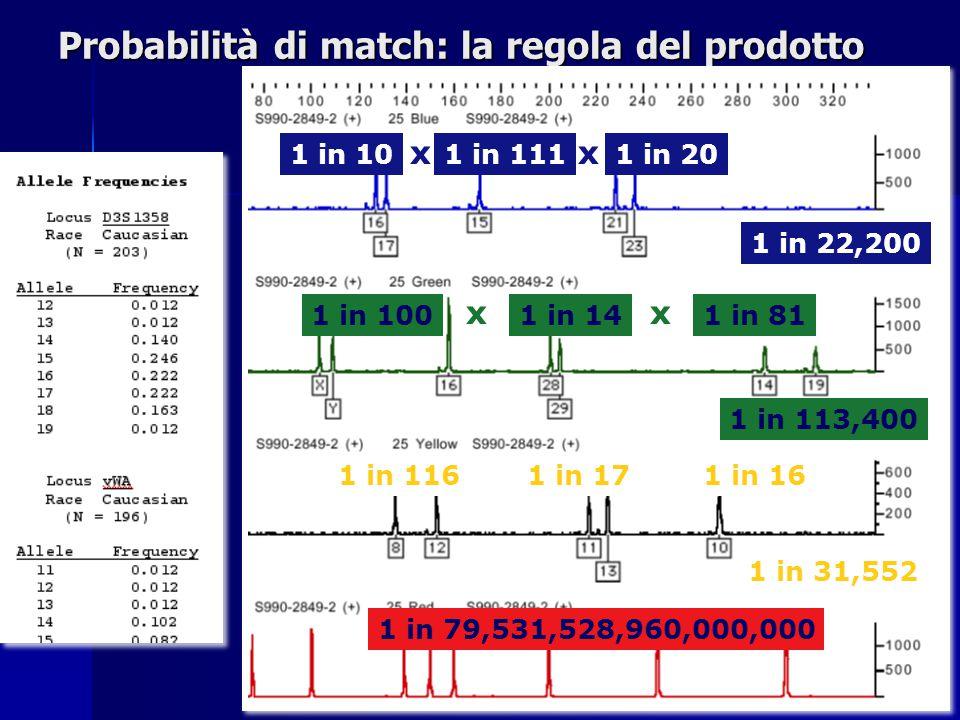 Probabilità di match: la regola del prodotto