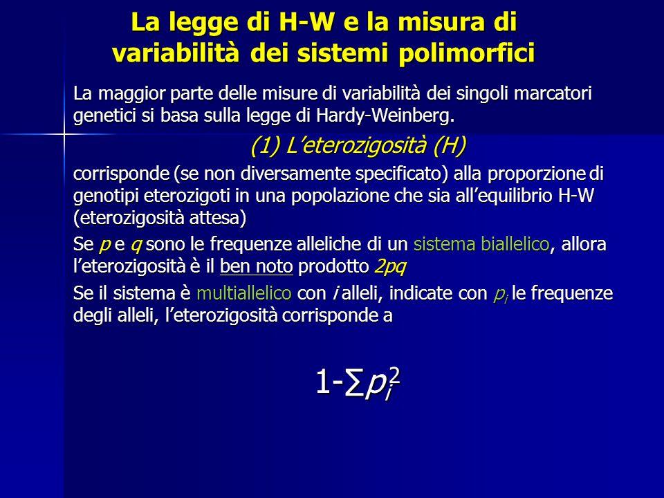La legge di H-W e la misura di variabilità dei sistemi polimorfici