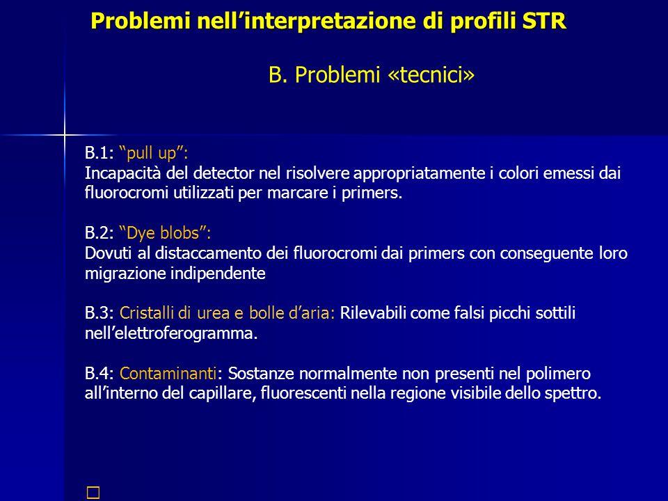 Problemi nell'interpretazione di profili STR