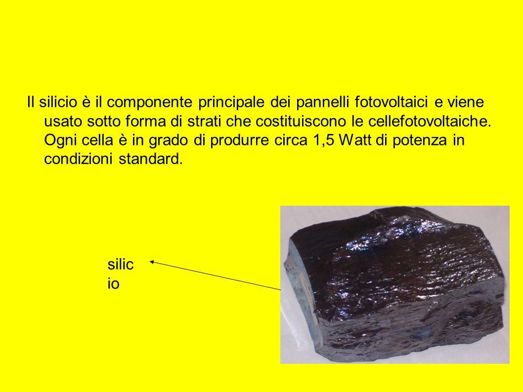 Il silicio è il componente principale dei pannelli fotovoltaici e viene usato sotto forma di strati che costituiscono le cellefotovoltaiche. Ogni cella è in grado di produrre circa 1,5 Watt di potenza in condizioni standard.