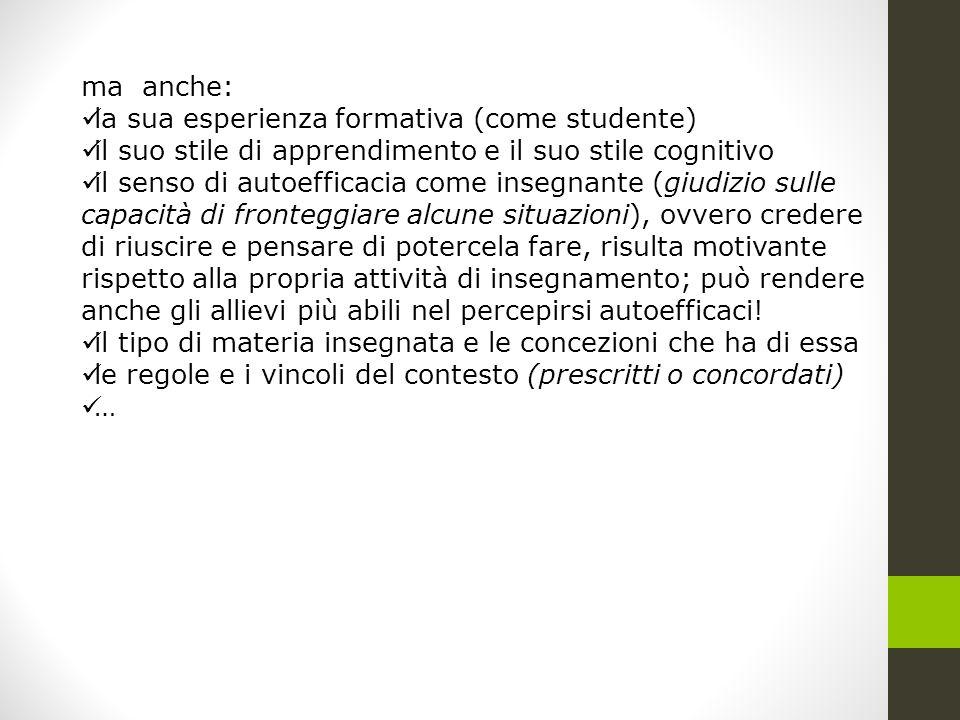 ma anche: la sua esperienza formativa (come studente) il suo stile di apprendimento e il suo stile cognitivo.