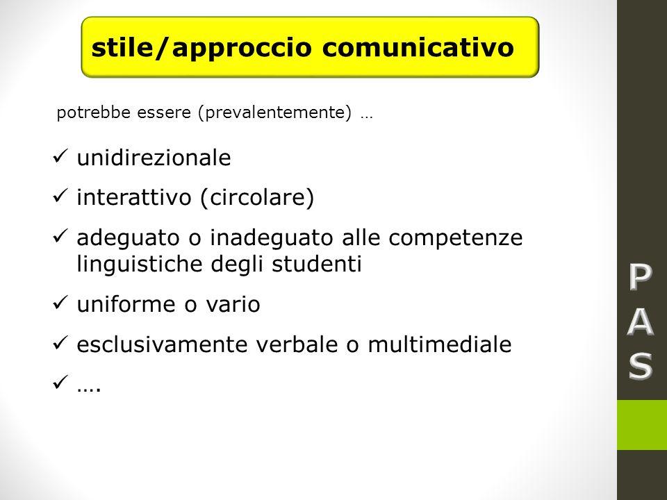 P A S stile/approccio comunicativo unidirezionale