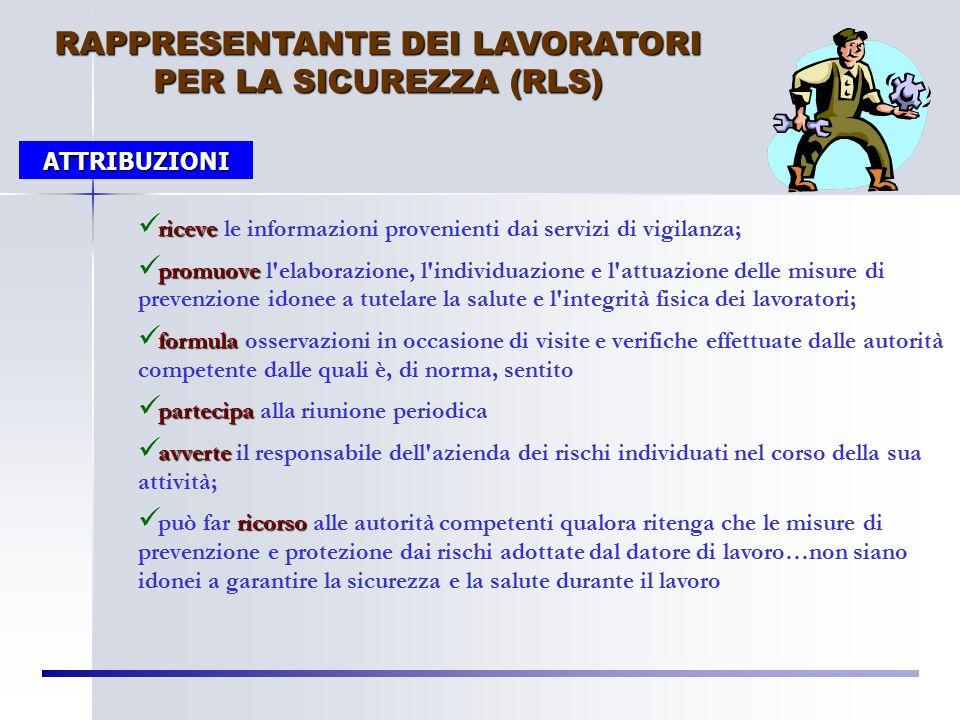 RAPPRESENTANTE DEI LAVORATORI PER LA SICUREZZA (RLS)
