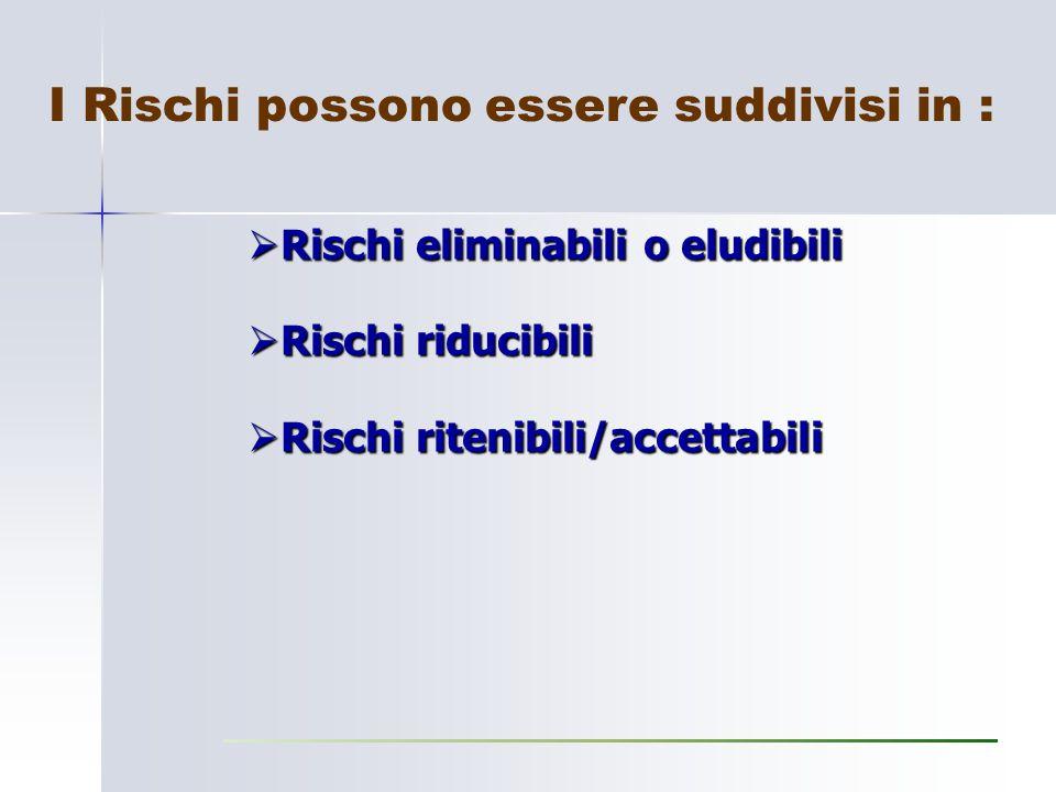 I Rischi possono essere suddivisi in :