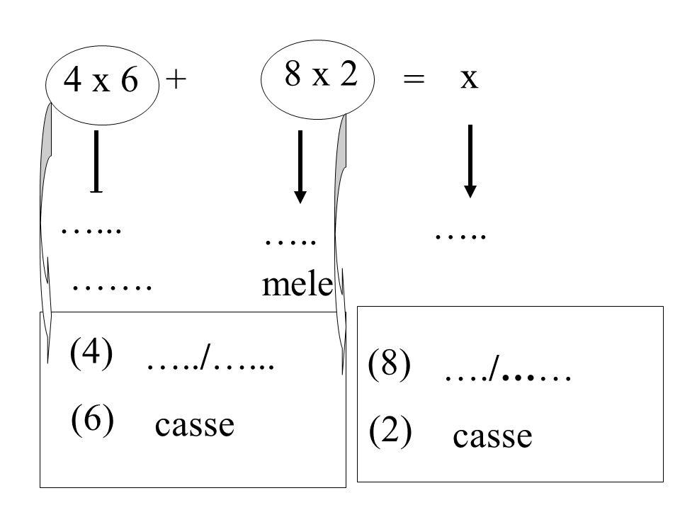 8 x 2 4 x 6 + = x …... ….. ….. ……. mele (4) …../…... (8) …./…… (6) casse (2) casse