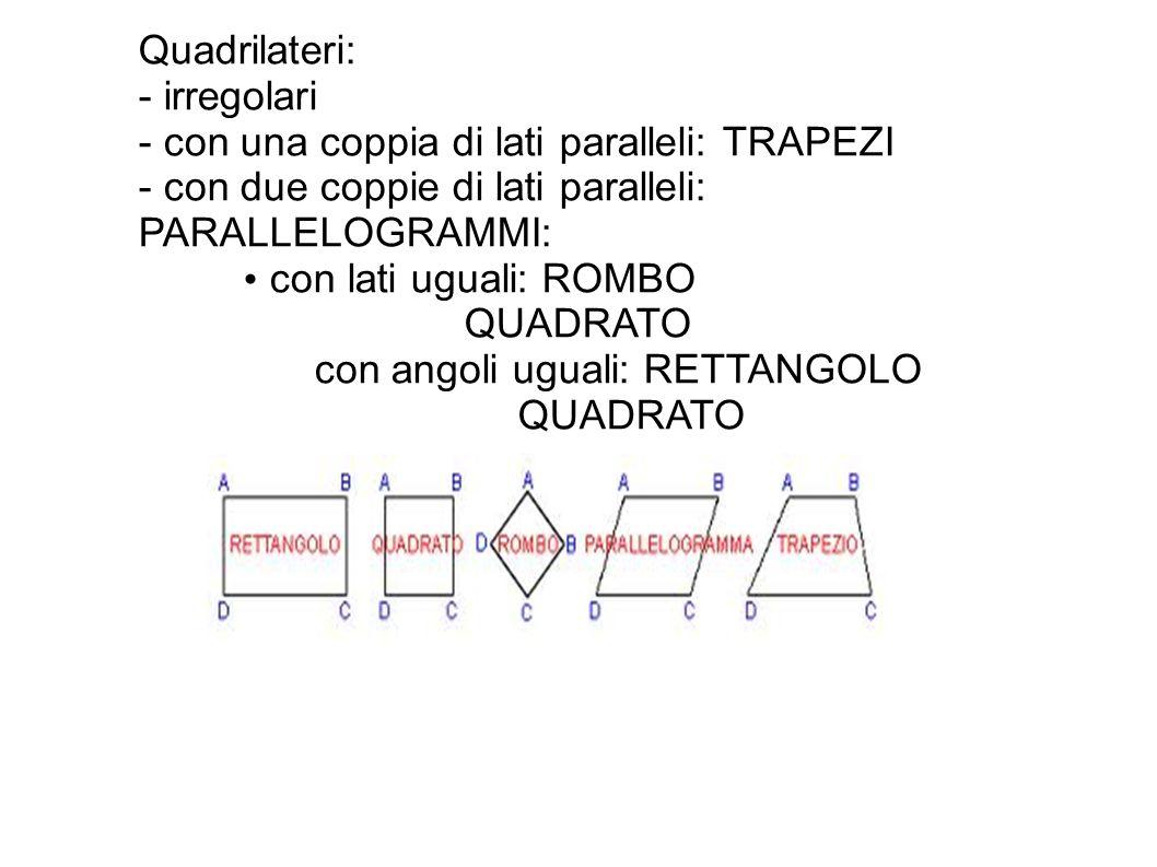Quadrilateri: - irregolari. - con una coppia di lati paralleli: TRAPEZI. - con due coppie di lati paralleli: PARALLELOGRAMMI: