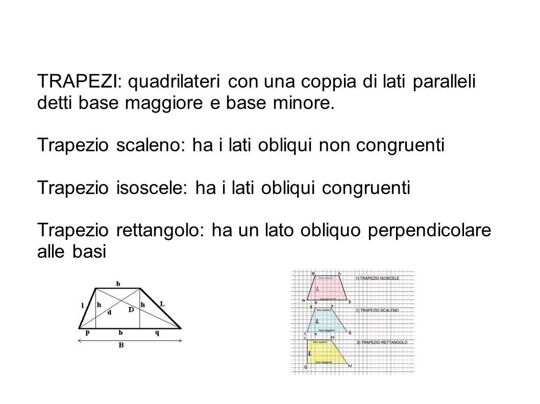 TRAPEZI: quadrilateri con una coppia di lati paralleli detti base maggiore e base minore.