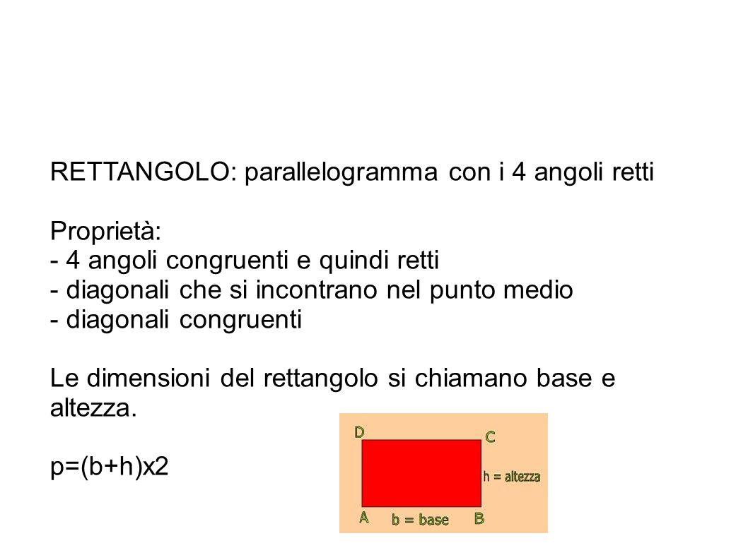 RETTANGOLO: parallelogramma con i 4 angoli retti
