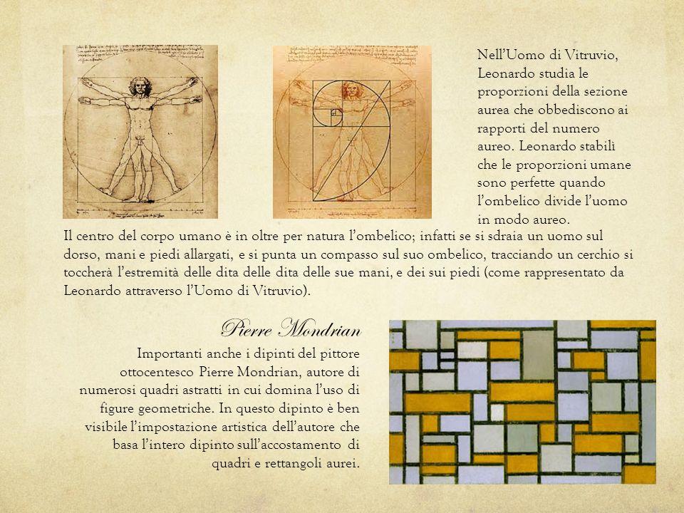 Nell'Uomo di Vitruvio, Leonardo studia le proporzioni della sezione aurea che obbediscono ai rapporti del numero aureo. Leonardo stabilì che le proporzioni umane sono perfette quando l'ombelico divide l'uomo in modo aureo.