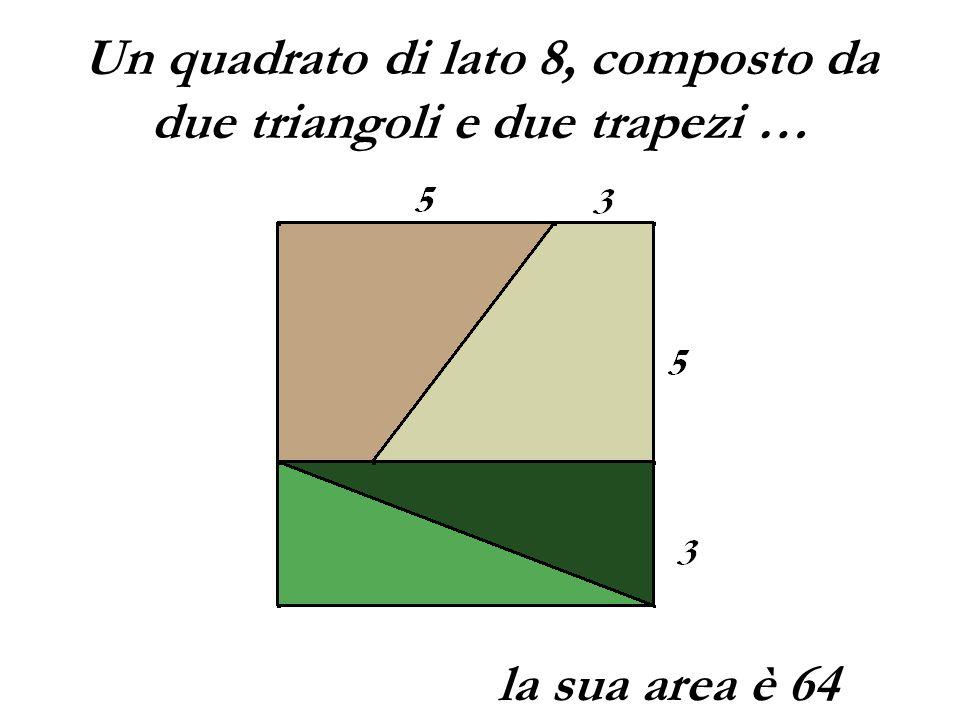 Un quadrato di lato 8, composto da due triangoli e due trapezi …