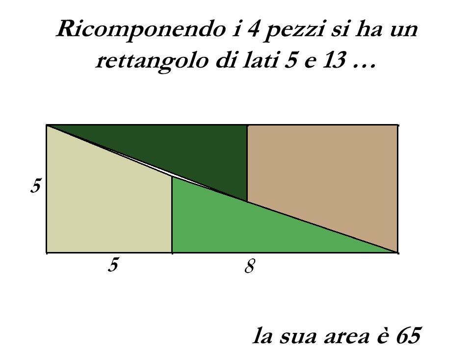 Ricomponendo i 4 pezzi si ha un rettangolo di lati 5 e 13 …