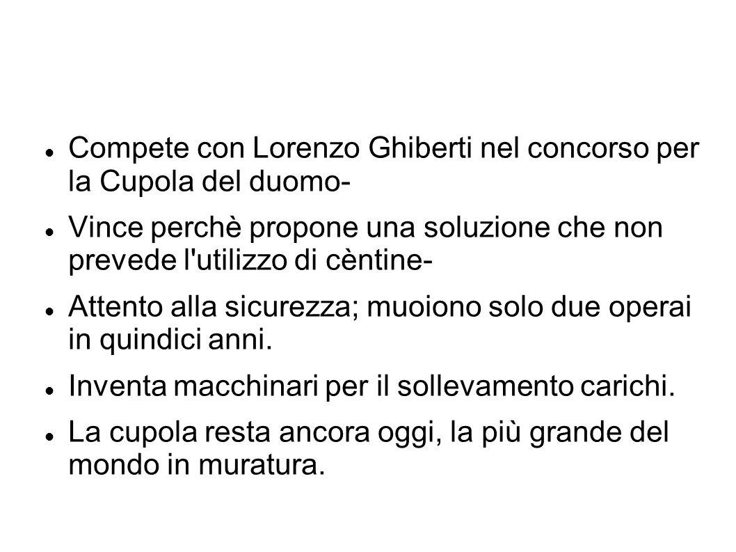 Compete con Lorenzo Ghiberti nel concorso per la Cupola del duomo-