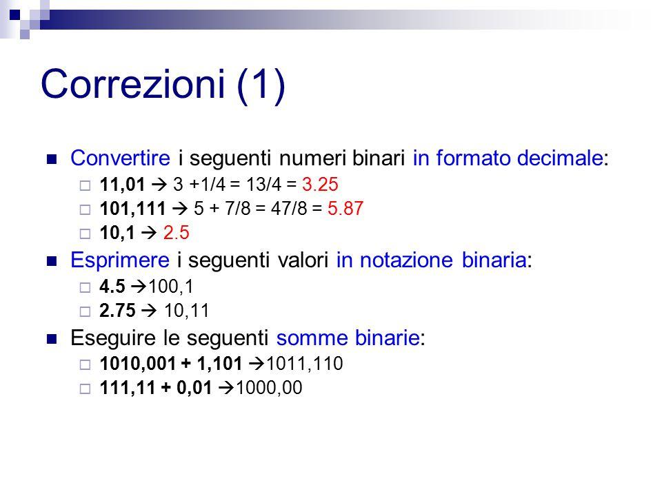 Correzioni (1) Convertire i seguenti numeri binari in formato decimale: 11,01  3 +1/4 = 13/4 = 3.25.