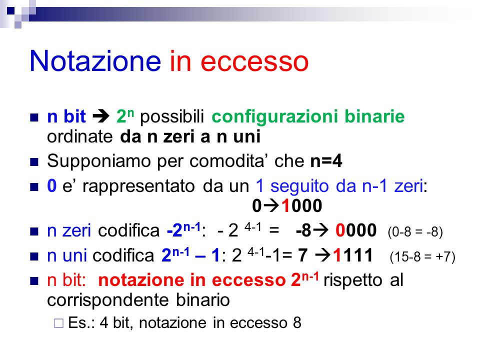 Notazione in eccesso n bit  2n possibili configurazioni binarie ordinate da n zeri a n uni. Supponiamo per comodita' che n=4.