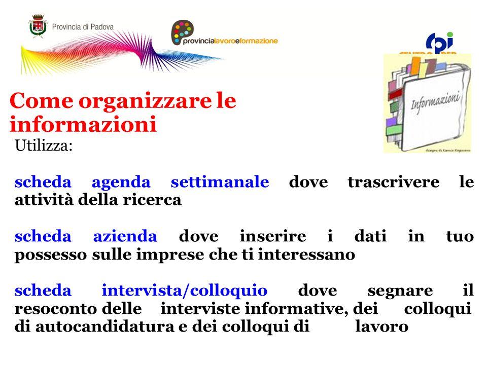 Come organizzare le informazioni