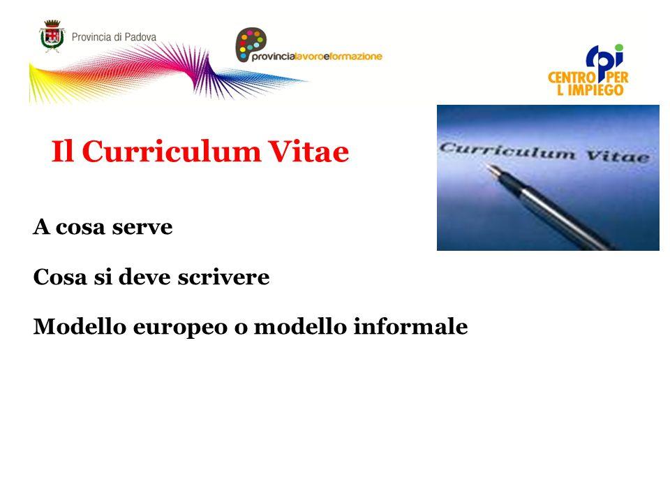 Il Curriculum Vitae A cosa serve Cosa si deve scrivere