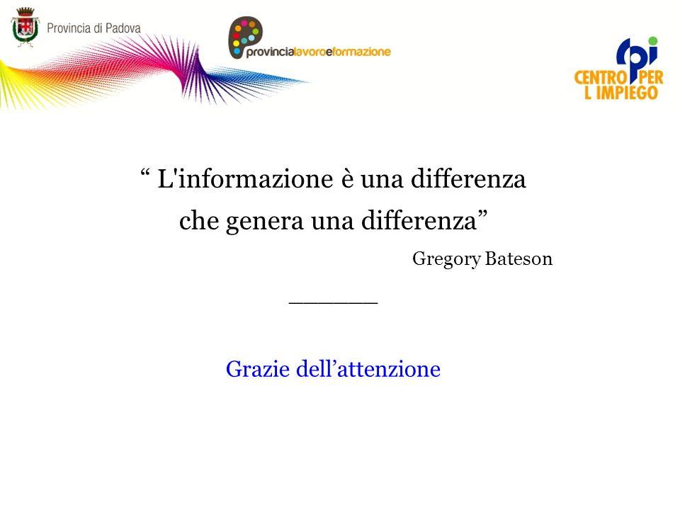 L informazione è una differenza che genera una differenza