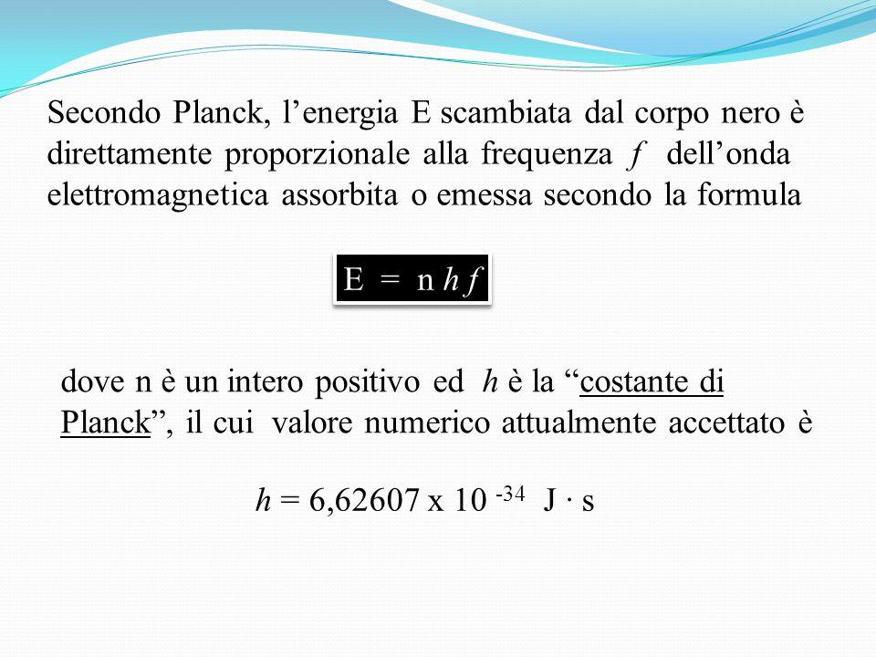 Secondo Planck, l'energia E scambiata dal corpo nero è direttamente proporzionale alla frequenza f dell'onda elettromagnetica assorbita o emessa secondo la formula