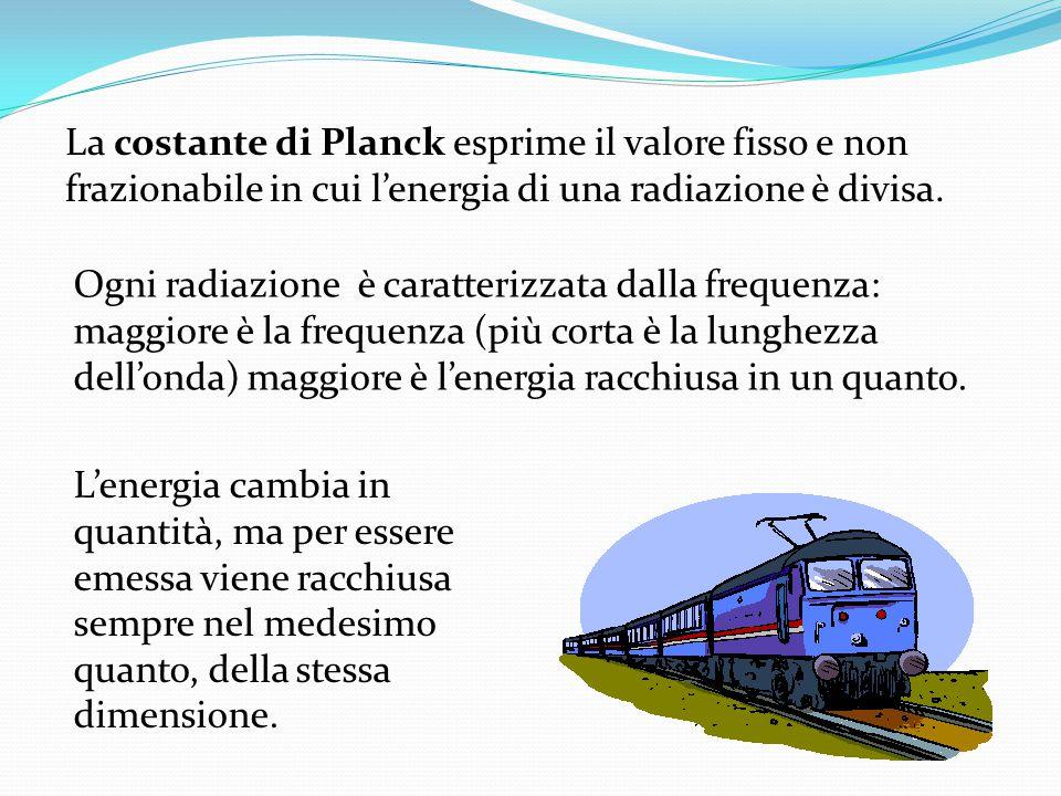 La costante di Planck esprime il valore fisso e non frazionabile in cui l'energia di una radiazione è divisa.