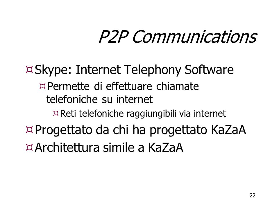 P2P Communications Skype: Internet Telephony Software