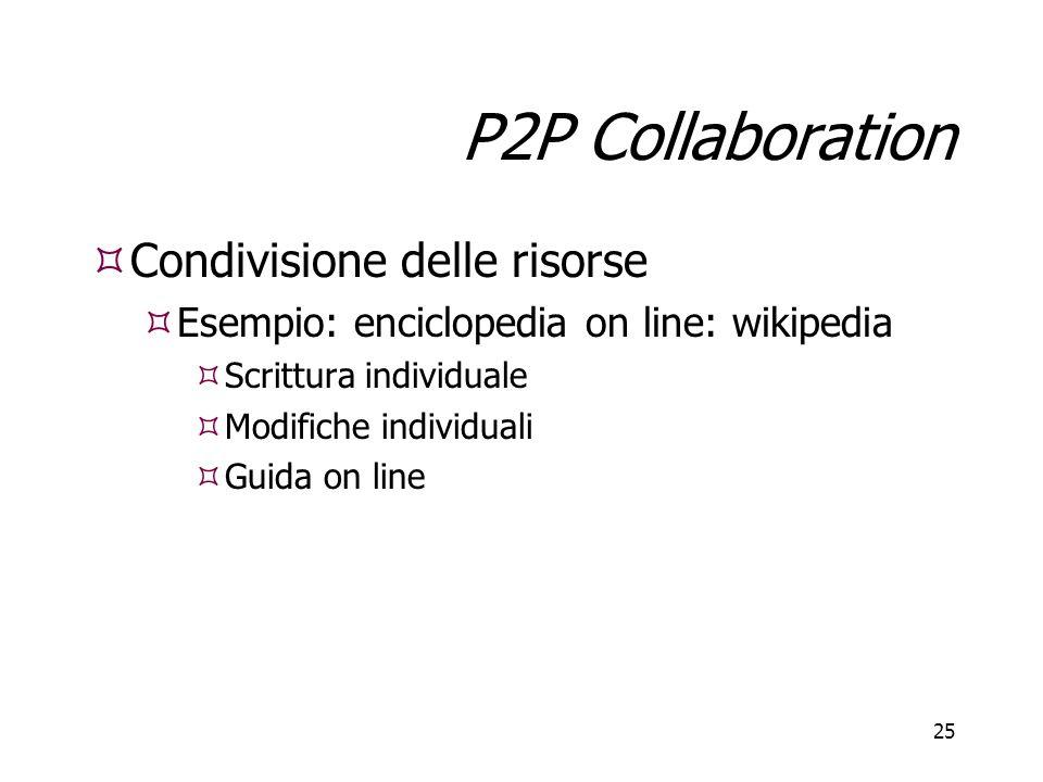 P2P Collaboration Condivisione delle risorse