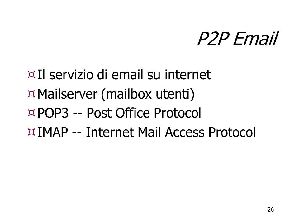 P2P Email Il servizio di email su internet Mailserver (mailbox utenti)