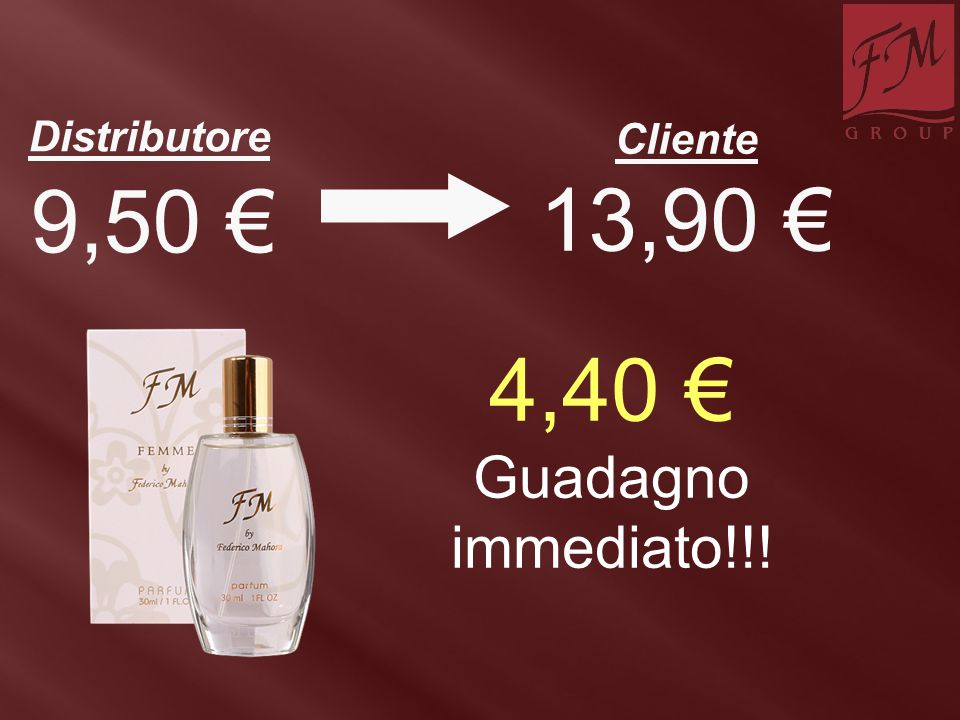 Distributore Cliente 9,50 € 13,90 € 4,40 € Guadagno immediato!!!