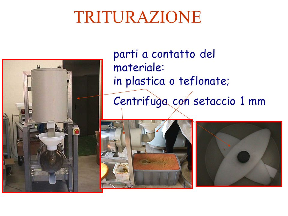 TRITURAZIONE parti a contatto del materiale: in plastica o teflonate;