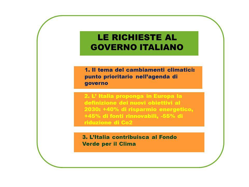 LE RICHIESTE AL GOVERNO ITALIANO