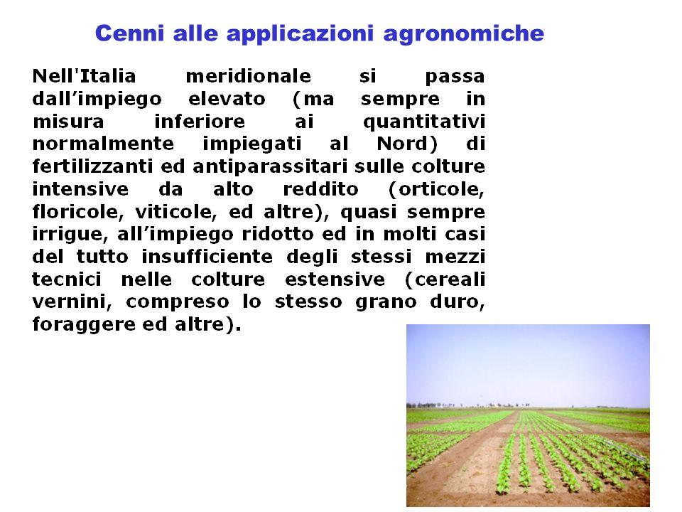 Cenni alle applicazioni agronomiche