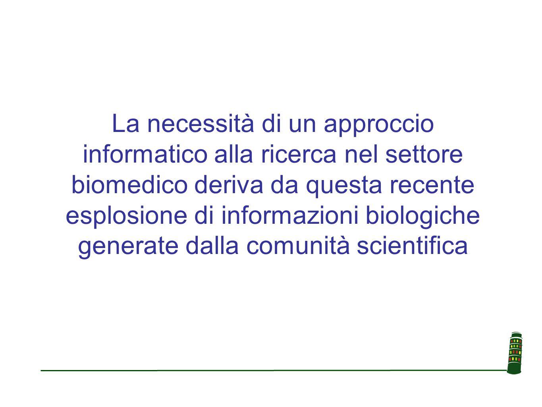 La necessità di un approccio informatico alla ricerca nel settore biomedico deriva da questa recente esplosione di informazioni biologiche generate dalla comunità scientifica