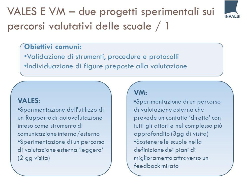 VALES E VM – due progetti sperimentali sui percorsi valutativi delle scuole / 1