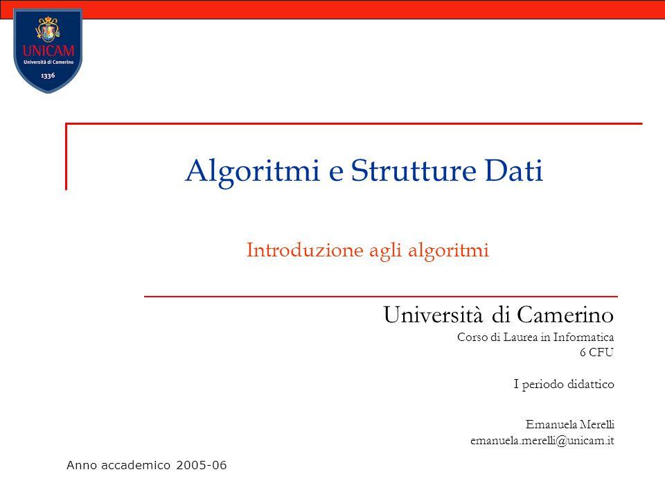 Algoritmi e Strutture Dati Introduzione agli algoritmi